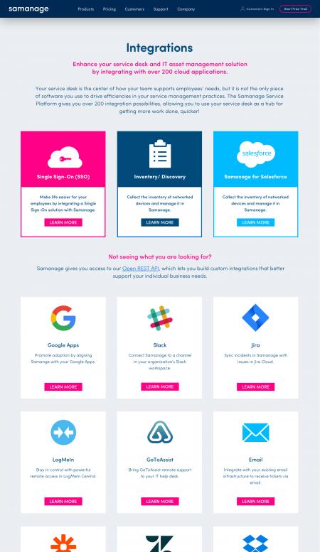 Web Design Integrations Pages